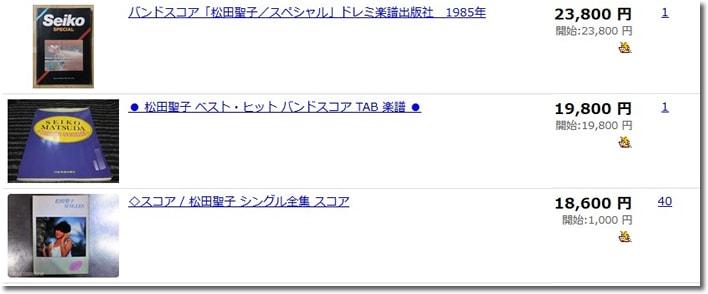 松田聖子バンドスコア・楽譜落札価格