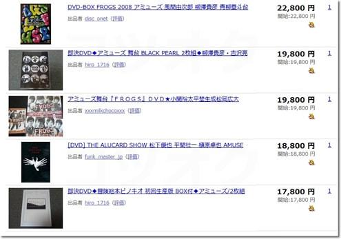 アミューズ関連DVD落札相場